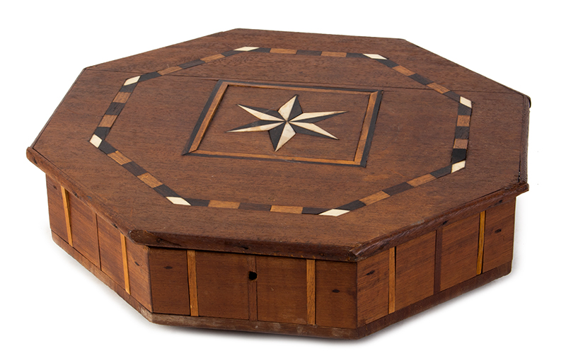 Antique, Sailor Made Octagonal Box, Compass Star Inlay, Fitted Interior, entire view 1