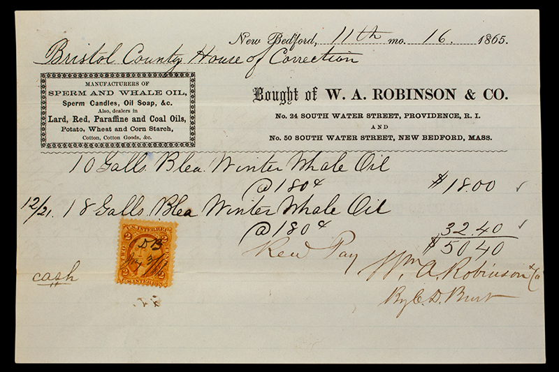 Receipt, 28 Gallons of Winter Whale Oil for Bristol County House of Correction Bought of W.A. Robinson & Co., New Bedford, Mass. & Providence, R.I., entire view 1