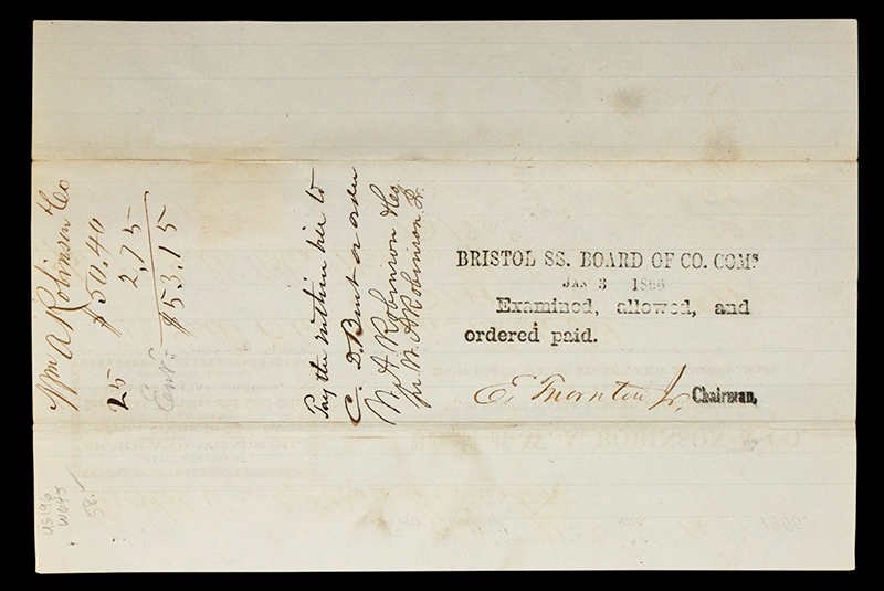 Receipt, 28 Gallons of Winter Whale Oil for Bristol County House of Correction Bought of W.A. Robinson & Co., New Bedford, Mass. & Providence, R.I., entire view 2