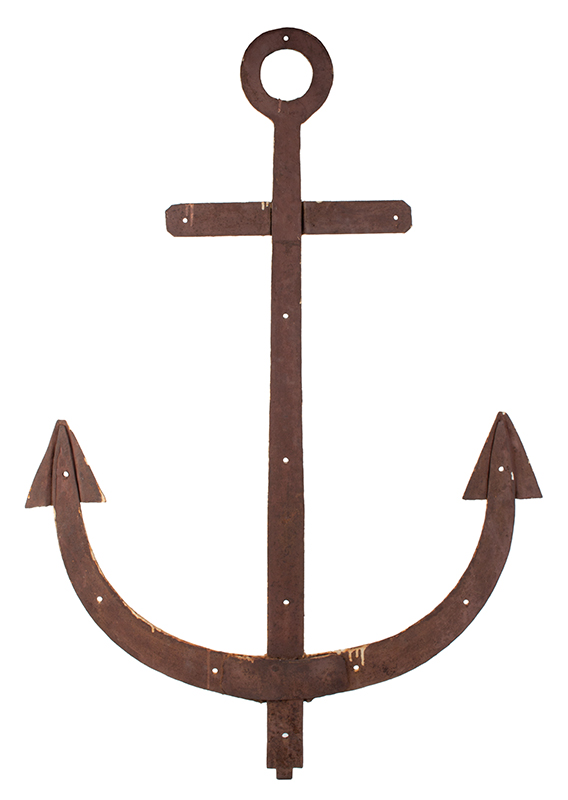 Boathouse Door Hinge, Large Anchor, Handwrought Iron Found in Maine, entire view 2