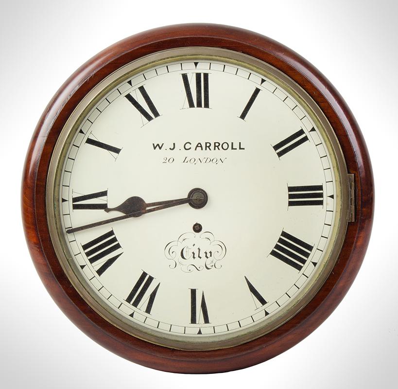 Wall Clock, W.J. Carroll, London, Fusse Movement by James Elliott, entire view 1