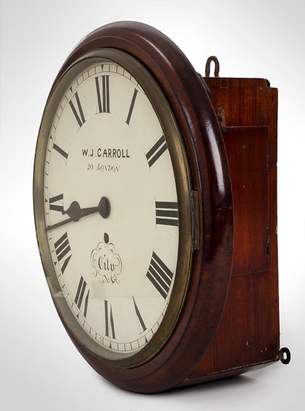 Wall Clock, W.J. Carroll, London, Fusse Movement by James Elliott, entire view 2