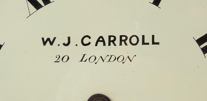Wall Clock, W.J. Carroll, London, Fusse Movement by James Elliott, detail view