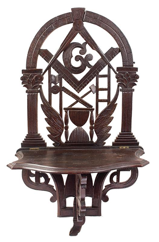 John Bellamy, Masonic Folding Wall Shelf, Carved & Pierced Masonic Imagery, entire view 1