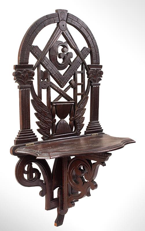 John Bellamy, Masonic Folding Wall Shelf, Carved & Pierced Masonic Imagery, entire view 2