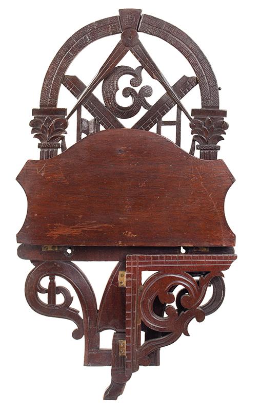 John Bellamy, Masonic Folding Wall Shelf, Carved & Pierced Masonic Imagery, entire view 3