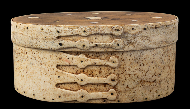 Ditty Box, Sailor Made, Pan Bone, 5-Shaped Fingers, Inlayed Top, entire view 2