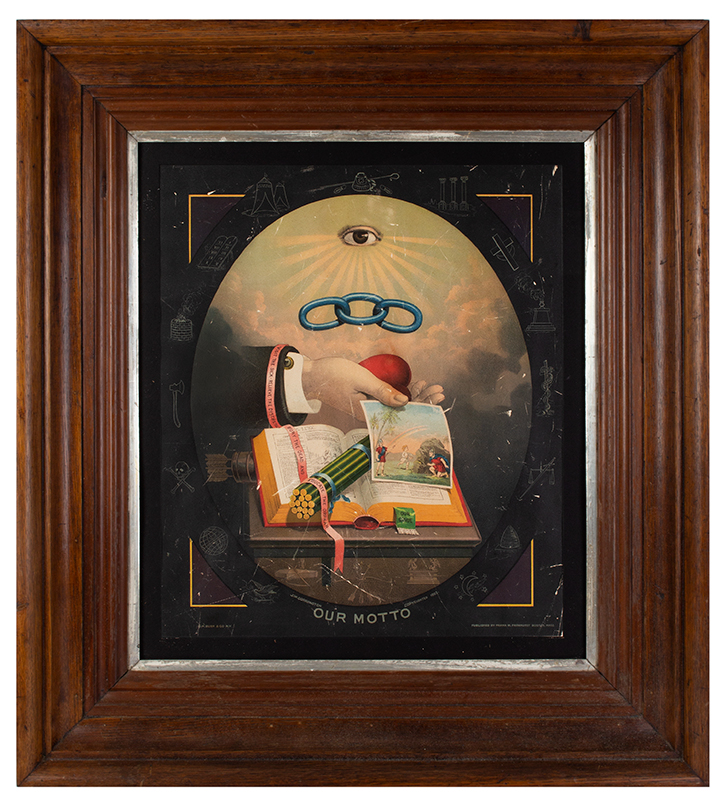 Framed Odd Fellows 'Our Motto' Lithograph, entire view