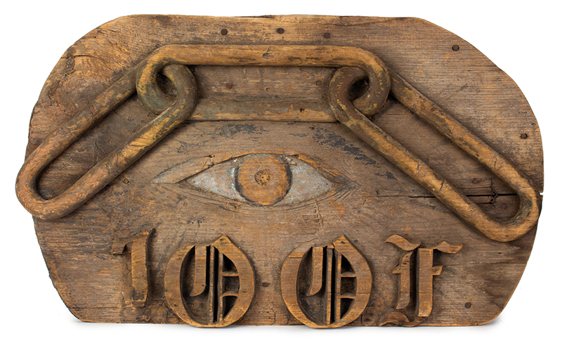 Odd Fellows Carved Wood Sign, Three-Linked Chain, Eye of Providence, entire view