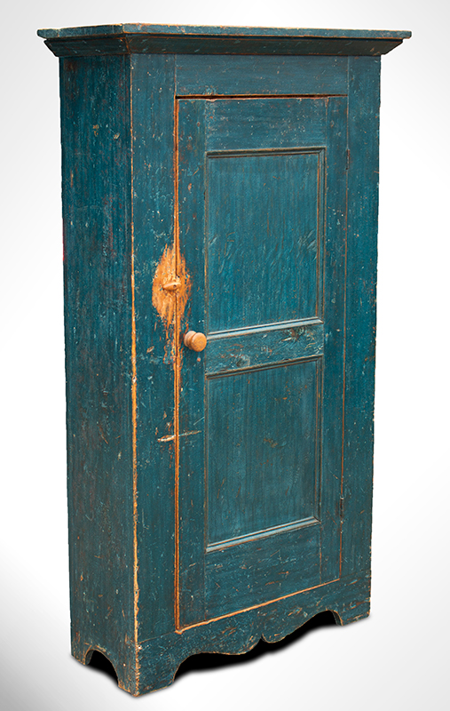 19th Century Flat Wall Cupboard in Blue Paint, entire view 1