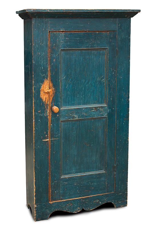 19th Century Flat Wall Cupboard in Blue Paint, entire view 2