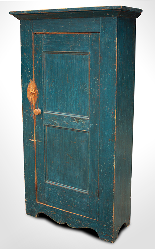 19th Century Flat Wall Cupboard in Blue Paint, entire view 3