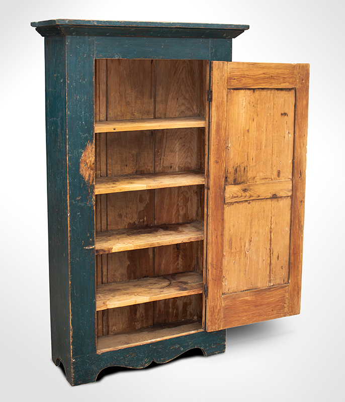 19th Century Flat Wall Cupboard in Blue Paint, entire view 4