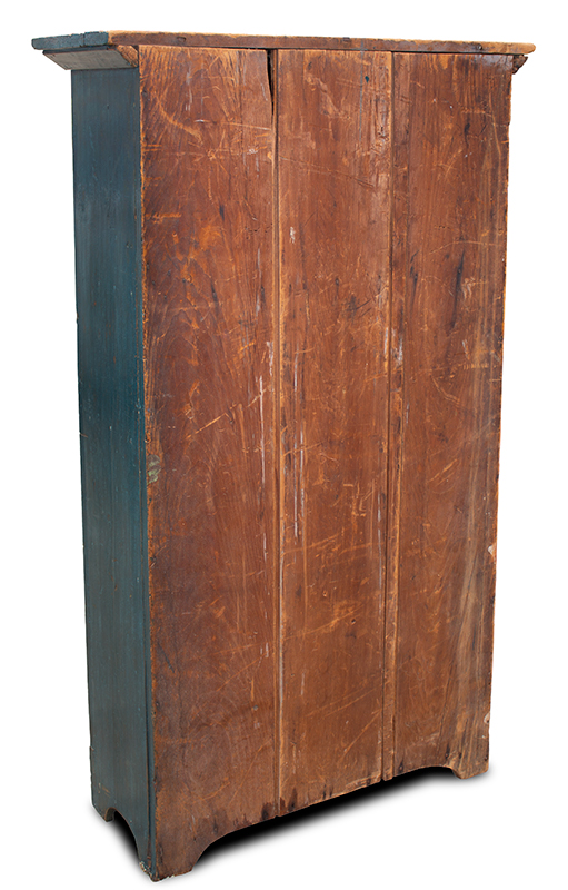 19th Century Flat Wall Cupboard in Blue Paint, entire view 5