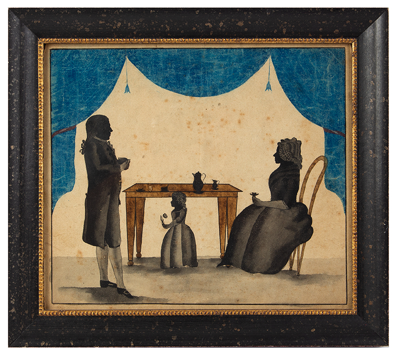 Triple Silhouette, Mother, Father & Child at Table, Blue Drapery & Tassels Anonymous, entire view
