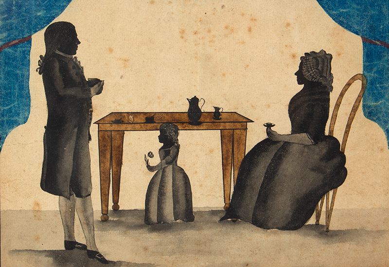 Triple Silhouette, Mother, Father & Child at Table, Blue Drapery & Tassels Anonymous, entire view sans frame