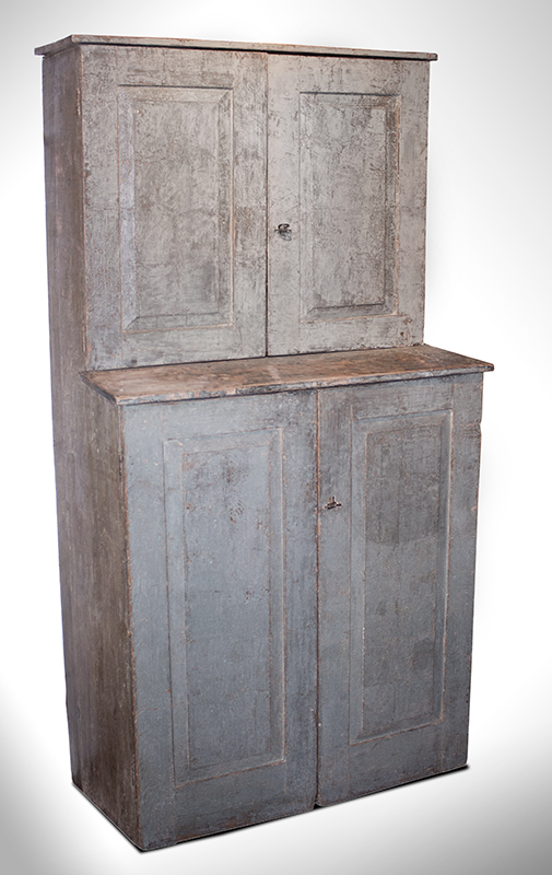 Step Back Cupboard, Raised Panel Doors, Soft Green Paint New England, entire view