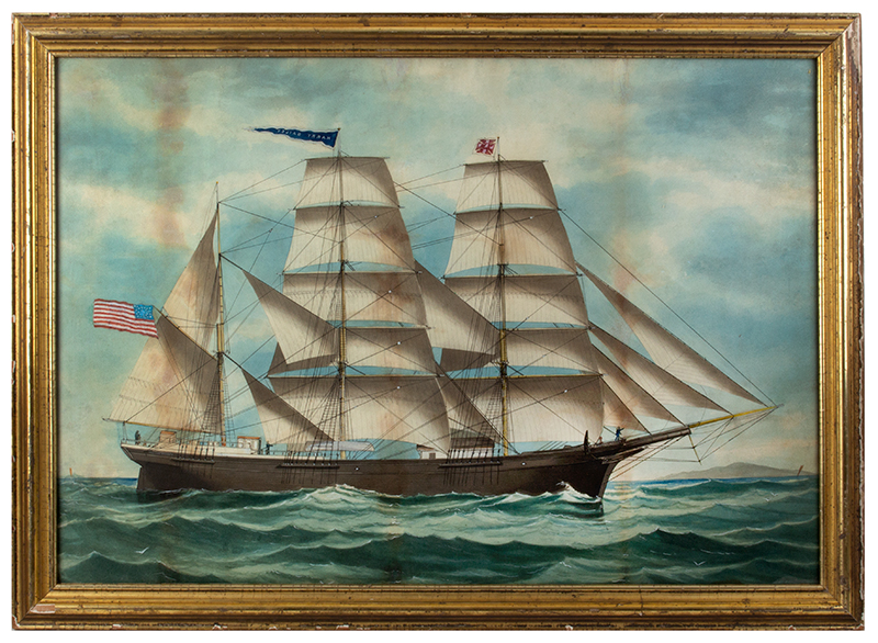American Ship Portrait, the Harry Bailey, Flying American and House Flags American School, Anonymous, entire view