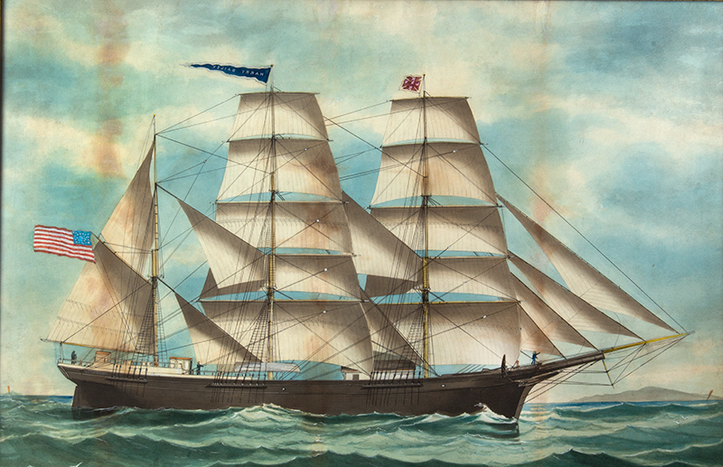 American Ship Portrait, the Harry Bailey, Flying American and House Flags American School, Anonymous, entire view sans frame