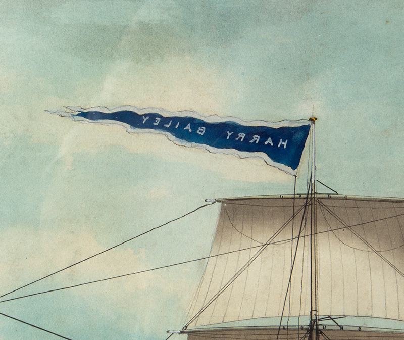 American Ship Portrait, the Harry Bailey, Flying American and House Flags American School, Anonymous, detail view 1