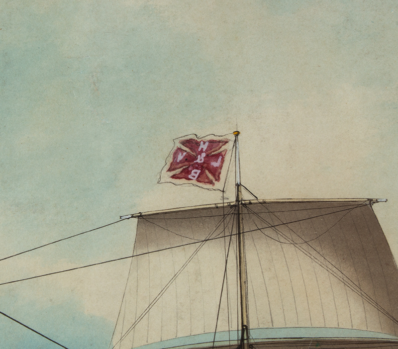 American Ship Portrait, the Harry Bailey, Flying American and House Flags American School, Anonymous, detail view 2