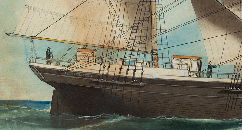 American Ship Portrait, the Harry Bailey, Flying American and House Flags American School, Anonymous, detail view 3