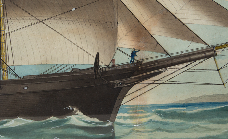 American Ship Portrait, the Harry Bailey, Flying American and House Flags American School, Anonymous, detail view 4