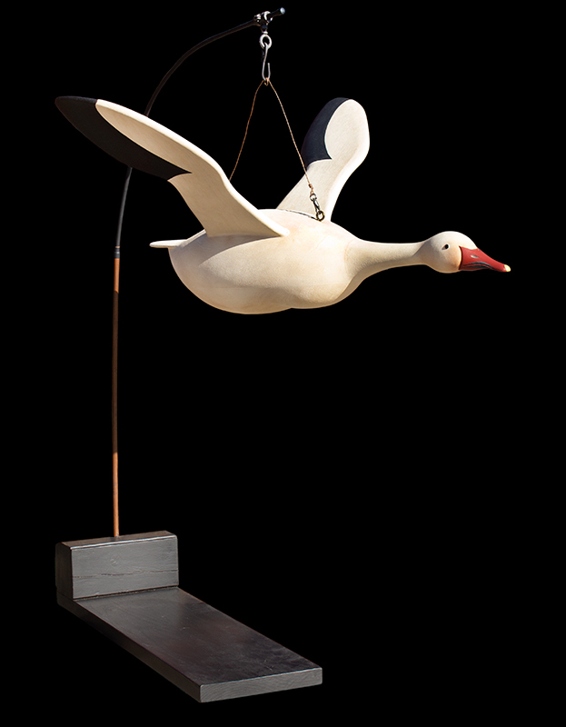 Folk Art, Carved and Painted Snow Goose by Gary Avadanian Reading, Massachusetts, stand view