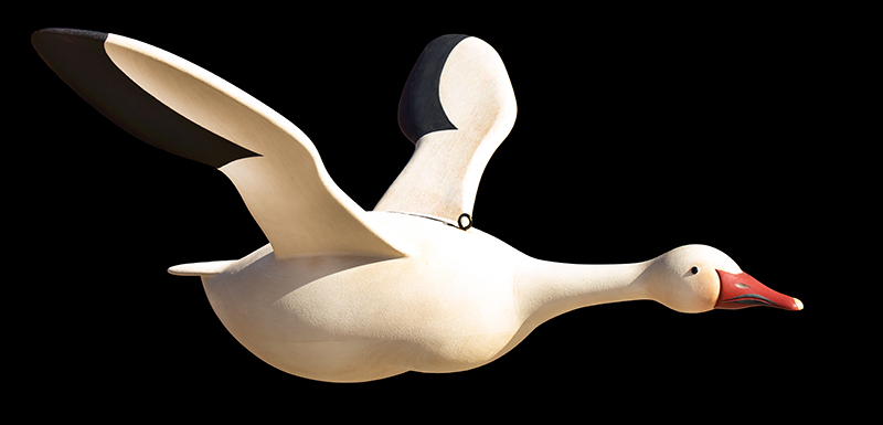 Folk Art, Carved and Painted Snow Goose by Gary Avadanian Reading, Massachusetts, entire view 2