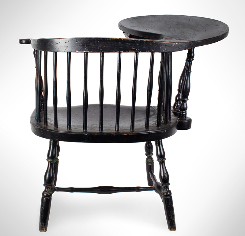 18th Century Windsor, Low-Back Writing Armchair, Tracy Shop Probably Lisbon, Connecticut, circa 1780 Maple, ash, and pine, entire view 5