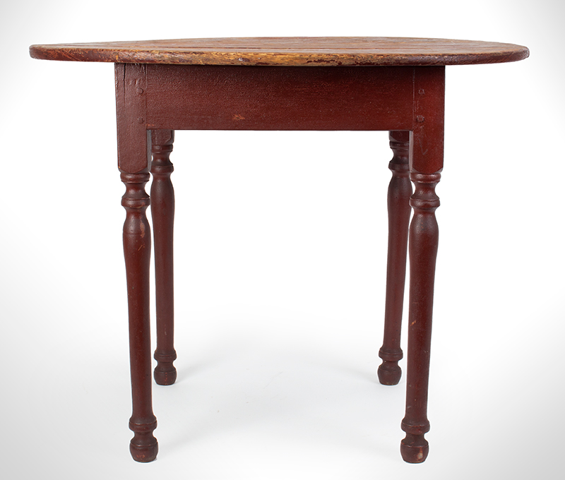 18th Century Oval Top Tea table, Historic Painted Surface Likely Massachusetts, Found Long Ago in Petersham, entire view 1