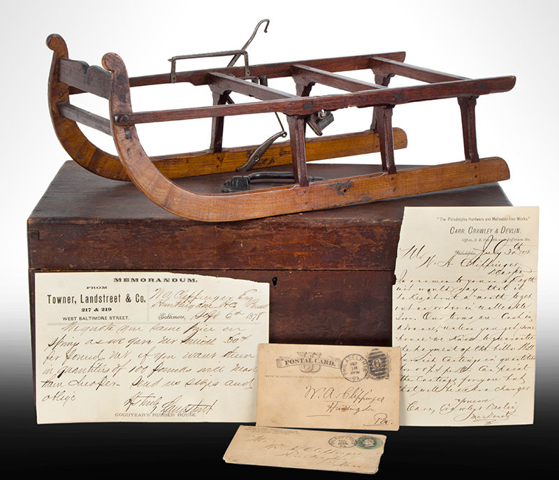 Patent or Salesman's Cased Model, Sled with Brake & Documents, entire view