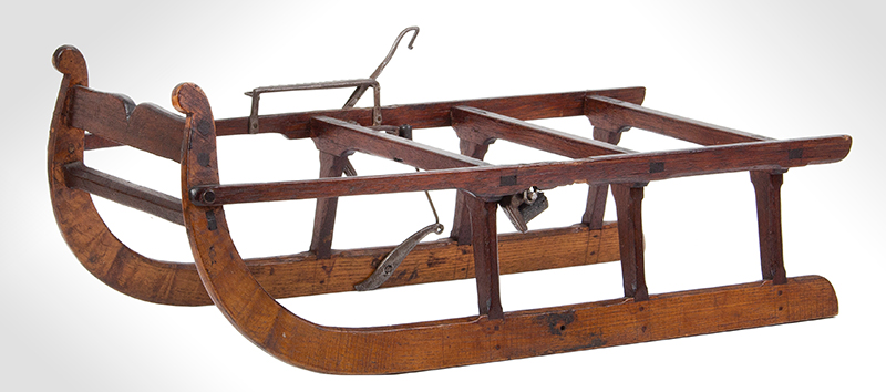 Patent or Salesman's Cased Model, Sled with Brake & Documents, entire view 2