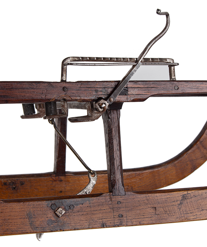 Patent or Salesman's Cased Model, Sled with Brake & Documents, break detail