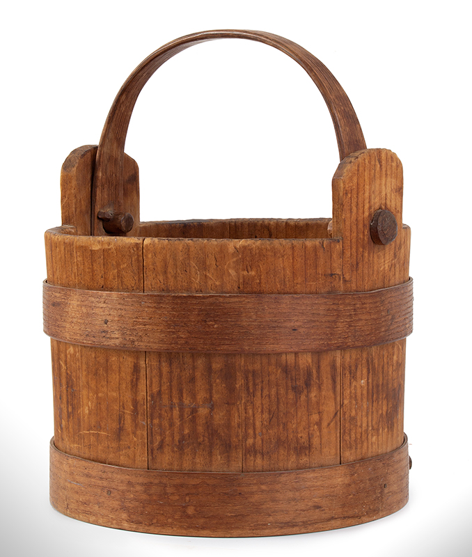 Nineteenth Century Wooden Bucket, Small Water Bucket in Best Natural Patina Attributed to Peter Hersey (1757-1844) of Hingham, Massachusetts, entire view 2