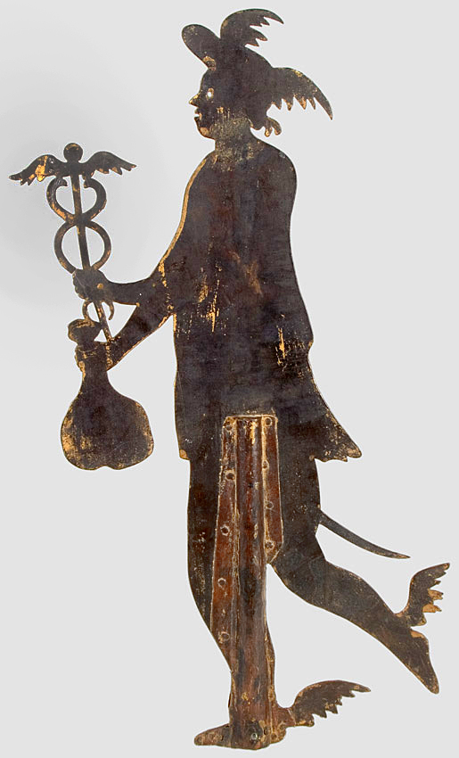 Figural Staff Finial or Weathervane, Hermes…, entire view