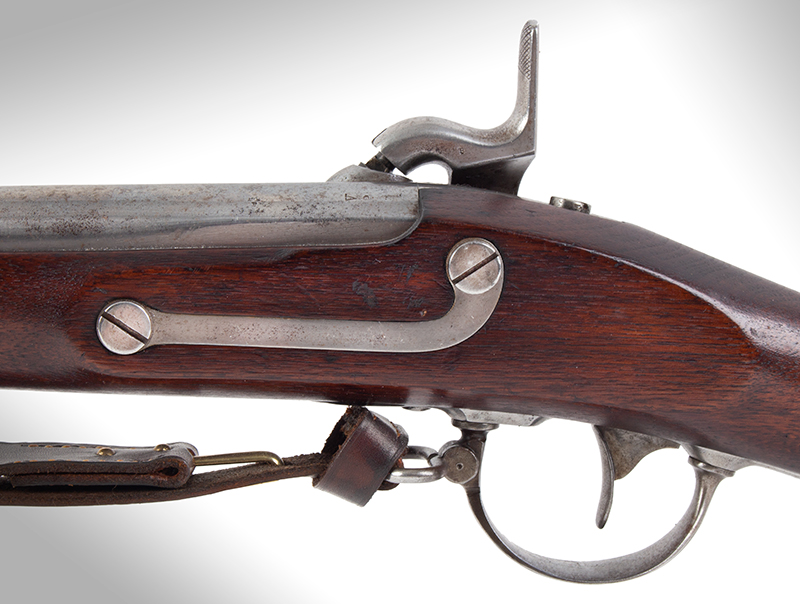 US Springfield Model 1842, Rifled and Sighted Musket with Bayonet Marked US The First Regulation Model Musket Made in Percussion by National Armories Sighted and rifled for the Civil War…the barrel, by Harpers Ferry Armory, side plate
