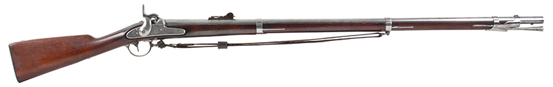US Springfield Model 1842, Rifled and Sighted Musket with Bayonet Marked US The First Regulation Model Musket Made in Percussion by National Armories Sighted and rifled for the Civil War…the barrel, by Harpers Ferry Armory, right facing
