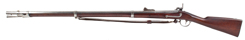 US Springfield Model 1842, Rifled and Sighted Musket with Bayonet Marked US The First Regulation Model Musket Made in Percussion by National Armories Sighted and rifled for the Civil War…the barrel, by Harpers Ferry Armory, left facing