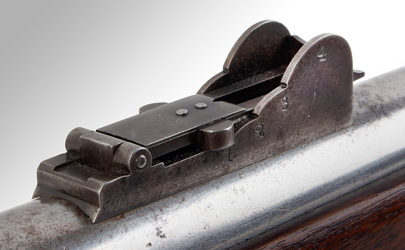US Springfield Model 1842, Rifled and Sighted Musket with Bayonet Marked US The First Regulation Model Musket Made in Percussion by National Armories Sighted and rifled for the Civil War…the barrel, by Harpers Ferry Armory, sight detail 1