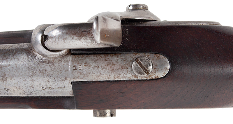 US Springfield Model 1842, Rifled and Sighted Musket with Bayonet Marked US The First Regulation Model Musket Made in Percussion by National Armories Sighted and rifled for the Civil War…the barrel, by Harpers Ferry Armory, tang detail