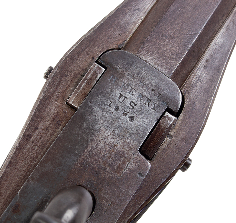 U.S. Harpers Ferry Model 1819 Hall Percussion Conversion Breechloading Rifle, detail view 1