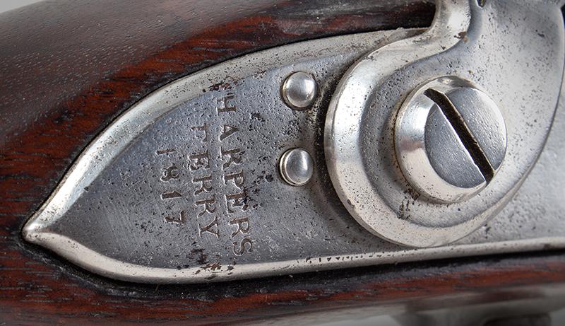 Model 1795 Harpers Ferry Flintlock Musket Dated 1817, Type IV, lock plate detail