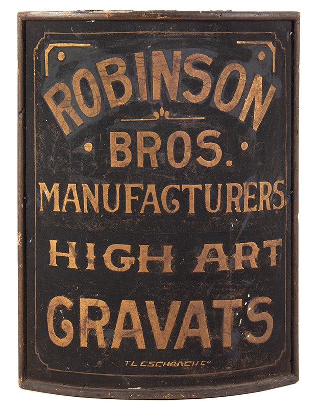 Trade Sign, Corner Mounted, Gilt and Painted Sheet Iron, Wood Frame Robinson Bros. Manufacturers / High Art / Gravats, entire view 1