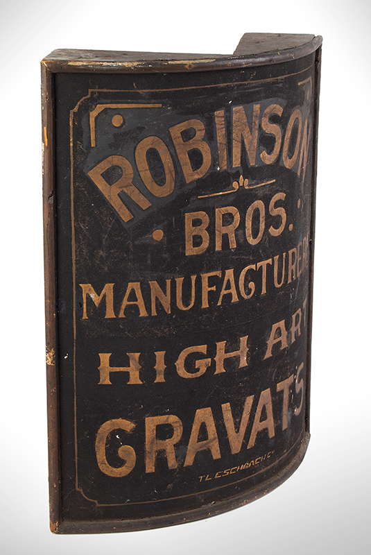 Trade Sign, Corner Mounted, Gilt and Painted Sheet Iron, Wood Frame Robinson Bros. Manufacturers / High Art / Gravats, entire view 2