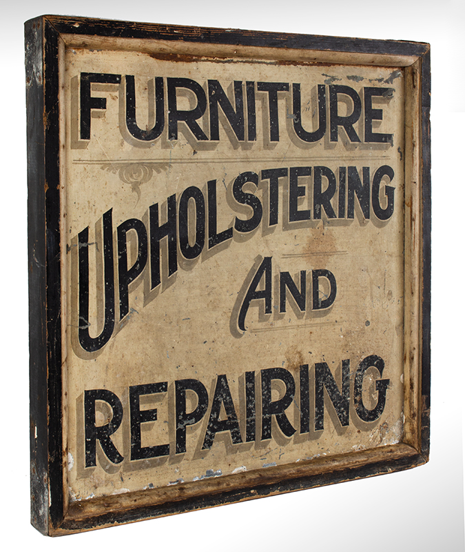 Antique Trade Sign, FURNITURE – UPOLSTERING AND REPAIRING, entire view 2