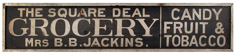 Antique Trade Sign, The Square Deal Grocery, Candy Fruit & Tobacco, side 1