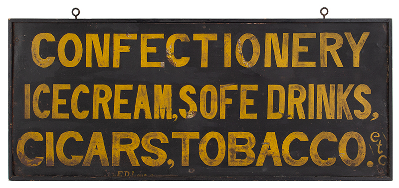 Trade Sign, Confectionary, Ice Cream, SOFE [sic] Drinks, Cigars, Tobacco, entire view