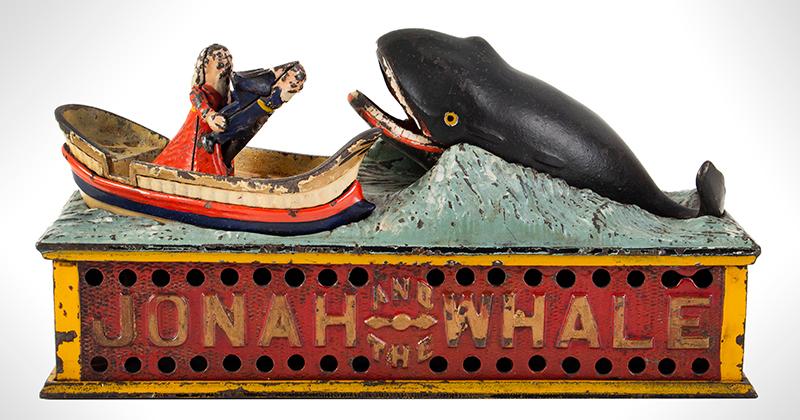 Mechanical bank, Jonah, & the Whale, Shepard Hardware Company, Buffalo, NY, entire view 1