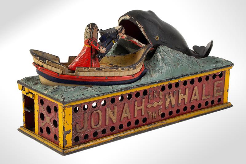 Mechanical bank, Jonah, & the Whale, Shepard Hardware Company, Buffalo, NY, entire view 2